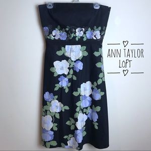 Ann Taylor LOFT Black Floral Strapless Dress 6 EUC